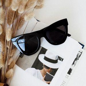 Glossy black cat eye sunglasses